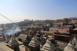 The Pashupati temple complex with the burning cremation ghats on the left