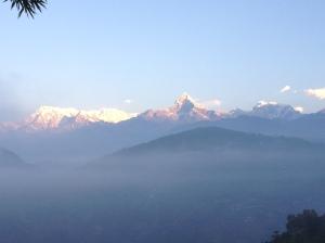 Sunrise over the Annapurna Massif and sanctuary. Copyright Donatella Lorch
