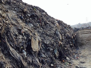 A 15 foot mountain of plastics and garbage lines the holy Bagmati River recently dredged as part of a road expansion project. Copyright Donatella Lorch
