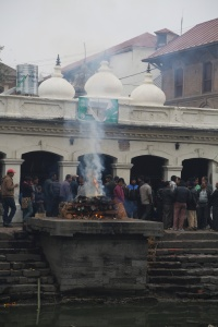 Pashupatinath is well known as a cremation site and on Maha Shivaratri festival it was business as usual. © Donatella Lorch
