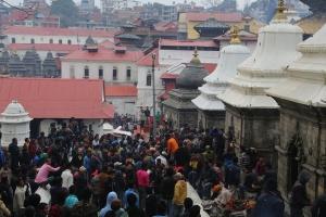Thousands of people throng to Pashupatinath on  Shiva's birthday. © Donatella Lorch