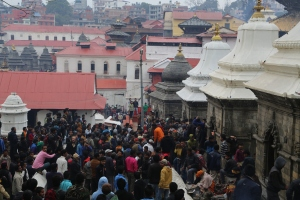 Thousands of people throng to Pashupatinath on  Shiva's birthday. © Donatella Lorch