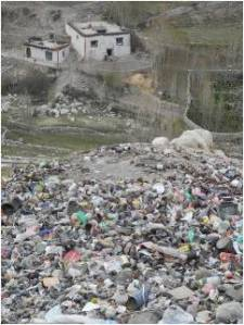 A huge pile of plastic garbage outside the Upper Mustang village of Lo Matang. The villagers have no means to reuse or recycle it. Copyright Keith Leslie