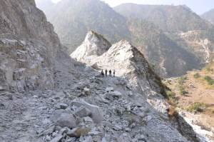 The slice of mountain blasted by the Nepali army as part of efforts to   start  'Fast Track' construction. Copyright Dominic Patella