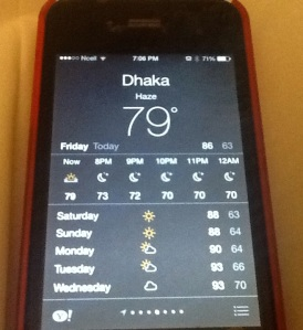 "Dhaka weather on my iPhone alternates between ""haze"" and ""smoke"". © Donatella Lorch"