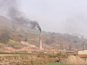 Kathmandu Valley smog is not only from the many cars but also from the brick factories sprouting up everywhere as demand for construction materials increases. © Donatella Lorch
