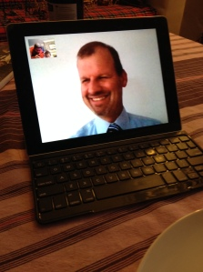 John and Lucas chat on FaceTime every evening at dinnertime. © Donatella Lorch