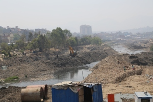 The nepal government is dredging the holy Bagmati River in Kathmandu unearthing decades of plastic bags. © Donatella Lorch