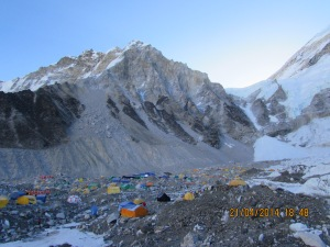 View of Everest Base Camp just before expeditions left for the season © Karma Sherpa