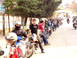 Fuel lines snake around the block - a standard sight in Kathmandu where fuel shortages are commonplace © Donatella Lorch