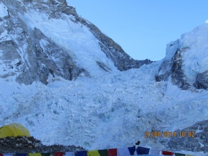 The Khumbu Icefall seen from EBC © Karma Sherpa