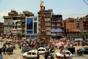 The Rato Machchendranath chariot, almost ready to be pulled through the streets of Patan ©Donatella Lorch