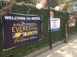 Banners welcoming Everest expeditions still line the parking lot walls at the Yak&Yeti Hotel in Kathmandu © Donatella Lorch