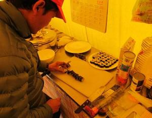 Sushi preparations at EBC on the Website of Altitude Junkies