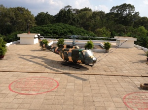 "Love those Hueys.  On the rooftop of ""Reunification Palace"" -- the former South Vietnamese presidential palace. ©Donatella Lorch"