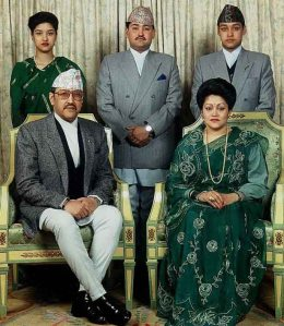 King Birendra (left), Queen Aishwarya and Crown Prince Dipendra (middle)