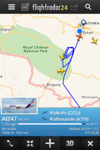 Flight Radar24 flight patterns on a recent day in Kathmandu