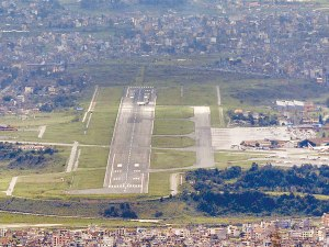 The airstrip at Tribhuvan International Airport, Kathmandu, Nepal