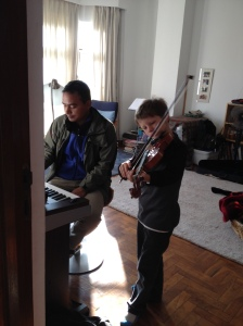 Violin lesson with Sabin Munikar. ©Donatella Lorch