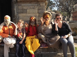 "Madeline and Lucas bonding with the ""tourist"" Sadhus at Pashupatinath, kathmandu. © Donatellal Lorch"