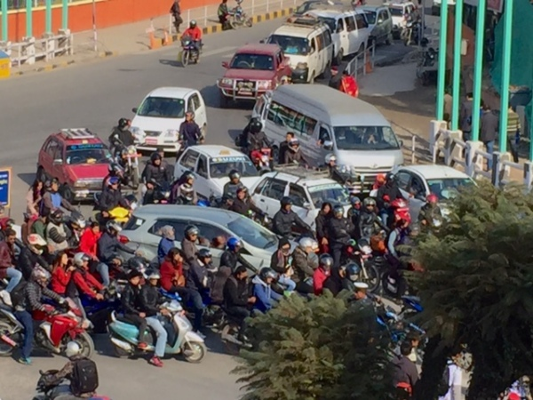 Kathmandu traffic adds to black baron emissions. © Donatella Lorch