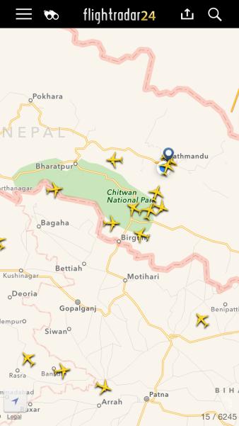 Circling in the sky jam for a landing slot in Kathmandu.