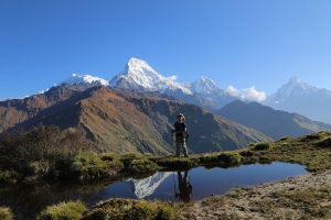 On top of the world - Mulde Peak just above Dobato in the Sahdow of the Annapurnas. ©Donatella Lorch